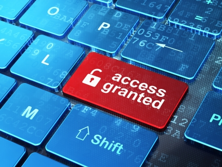 access granted: Security concept  computer keyboard with Opened Padlock icon and word Access Granted on enter button background, 3d render