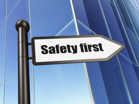 Safety concept  Safety First on Building background, 3d render Stock Photo - 20025977