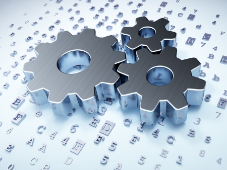 Marketing concept  Silver Gears on digital background, 3d render photo