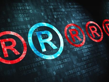 Concepto de Derecho pixelada icono de registro de fondo digital, 3d