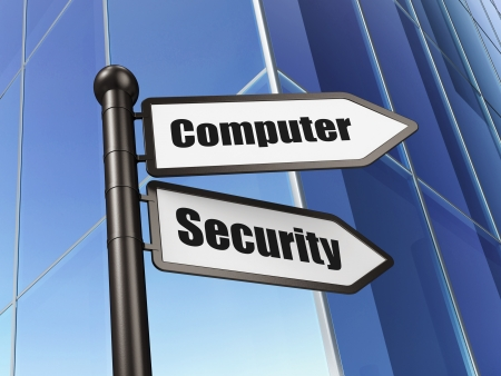 Security concept  Computer Security on Building background, 3d render Stock Photo - 20026547
