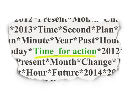 Timeline concept  torn newspaper with words Time for Action on Paper background, 3d render photo