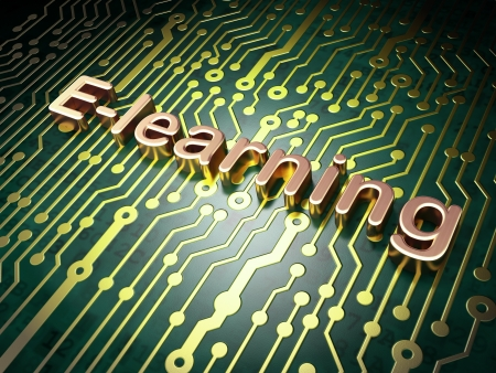 elearn: Education concept  circuit board with word E-learning, 3d render