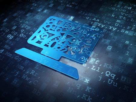 Educaci?oncepto Azul equipo de PC en el fondo digital, 3d
