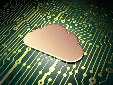 Networking concept  circuit board with Cloud icon, 3d render photo