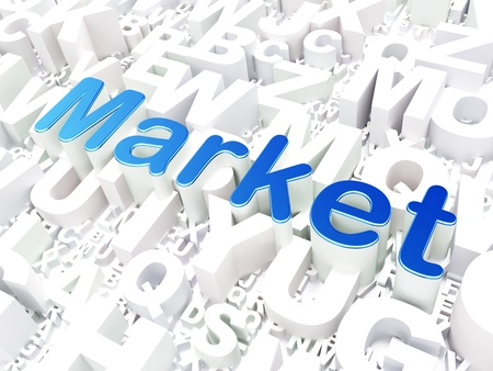 Business concept  Market on alphabet  background, 3d render photo
