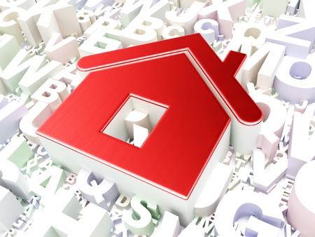 Security concept  Home on alphabet background, 3d render photo