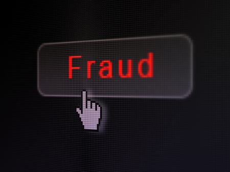 Protection concept  pixelated words Fraud on button whis Hand cursor on digital computer screen background, selected focus 3d render photo