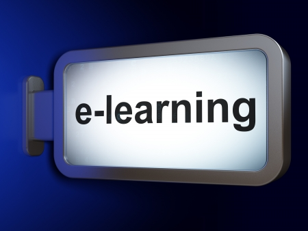 elearn: Education concept  E-learning on advertising billboard background, 3d render