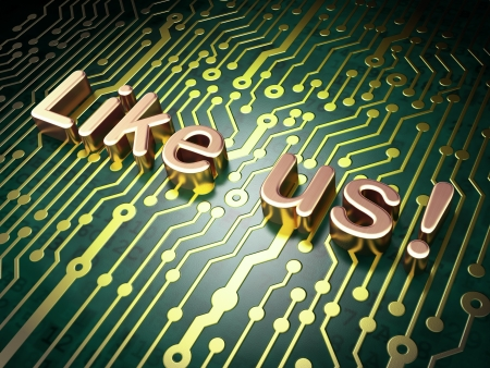 Social media concept  circuit board with word Like us , 3d render photo