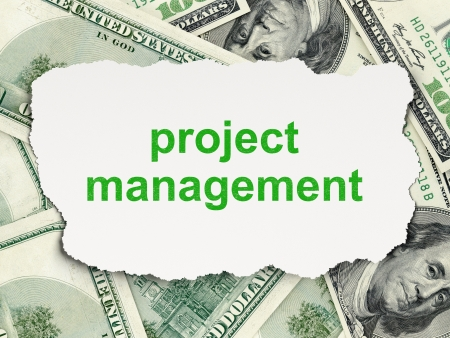 busines: Business concept  torn paper with words Project Management on Money background, 3d render