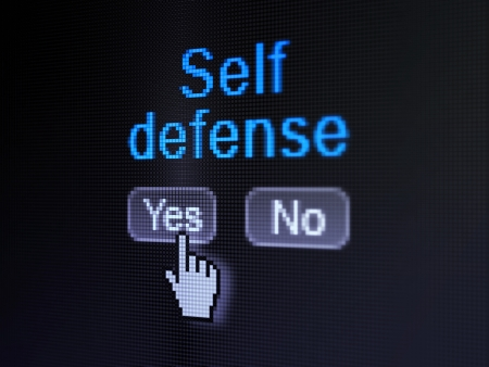 selected: Protection concept  buttons yes and no with pixelated word Self Defense and Hand cursor on digital computer screen, selected focus 3d render