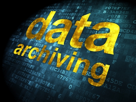 data archiving: Data concept  pixelated words Data Archiving on digital background, 3d render Stock Photo