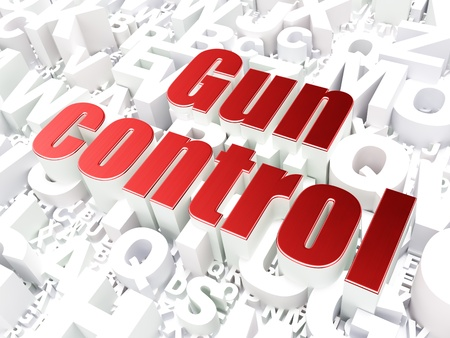 Safety concept  Gun Control on alphabet  background, 3d render photo