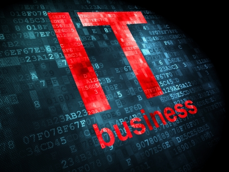 it: Finance concept  pixelated words IT Business on digital background, 3d render