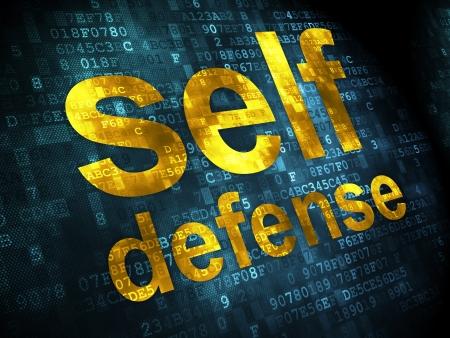 defensa personal: Concepto de seguridad pixelada palabras autodefensa en el fondo digital, 3d