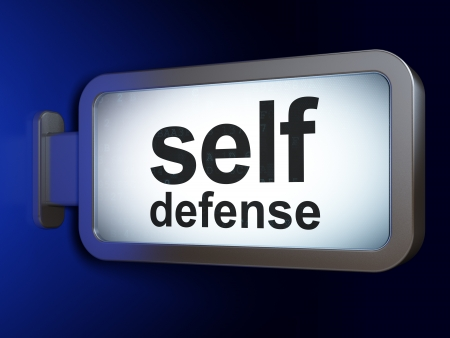 cyber defence: Safety concept  Self Defense on advertising billboard background, 3d render Stock Photo