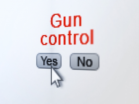 Safety concept  buttons yes and no with pixelated word Gun Control and Arrow cursor on digital computer screen, selected focus 3d render photo