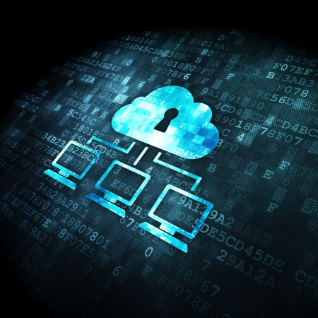 Cloud technology concept  pixelated Cloud Network icon on digital background, 3d render Stock Photo - 21045372