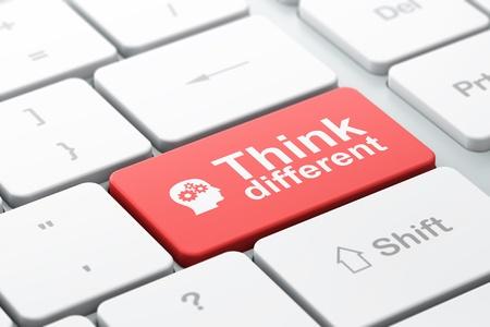Concepto de la educaci�n teclado de ordenador con cabeza con engranajes icono y la palabra Think Different, de enfoque seleccionada en el bot�n de entrar, 3d Foto de archivo