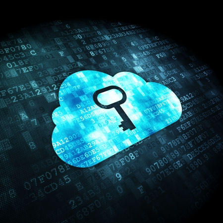 Cloud computing concept  pixelated Cloud With Key icon on digital background, 3d render photo