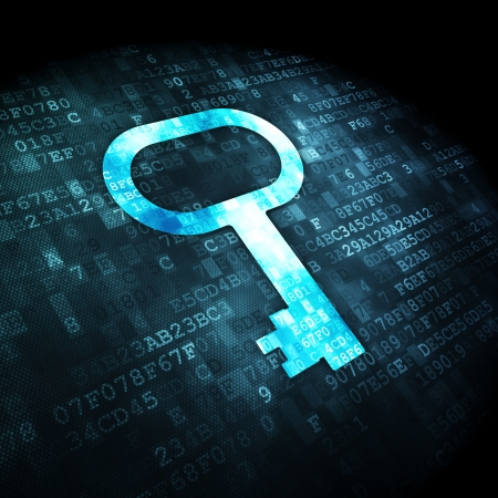 Privacy concept  pixelated Key icon on digital background, 3d render photo