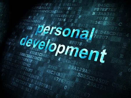 Concepto de educaci?n pixelada Desarrollo Personal palabras en fondo digital, 3d render