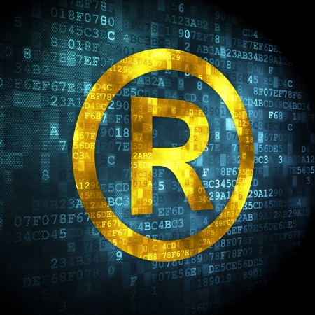 r regulation: Law concept  pixelated Registered icon on digital background, 3d render