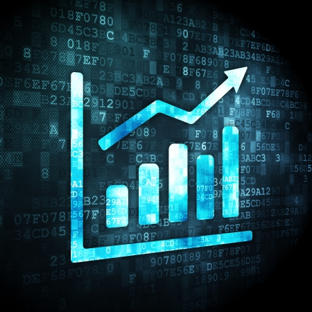 Marketing concept  pixelated Growth Graph icon on digital background, 3d render photo