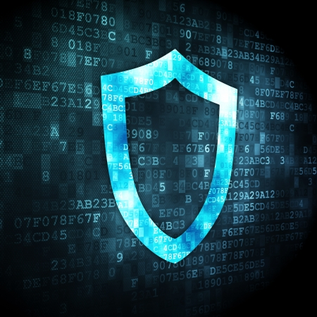 contoured: Concepto de seguridad pixelada Icono del blindaje contorneada en el fondo digital, 3d Foto de archivo