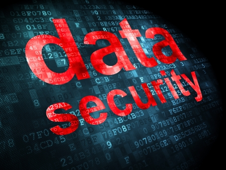 Privacy concept  pixelated words Data Security on digital background, 3d render Stock Photo - 21344910