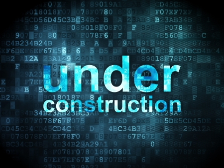 SEO web development concept  pixelated words Under Construction on digital background, 3d render photo
