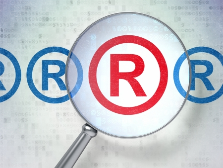 r regulation: Magnifying optical glass with Registered icons on digital background, 3d render Stock Photo