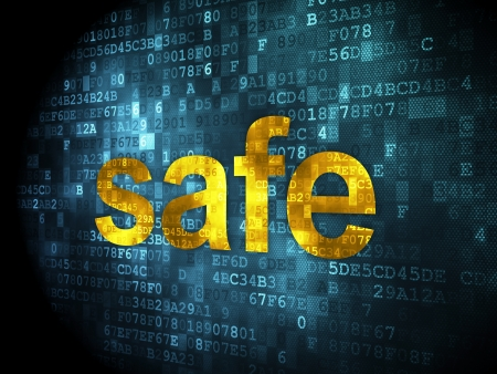 Safety concept  pixelated words Safe on digital background, 3d render Stock Photo - 21344939