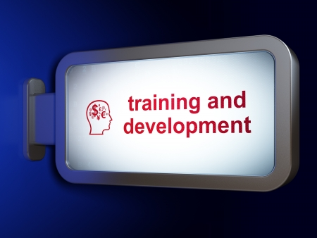 Education concept  Training and Development and Head With Finance Symbol on advertising billboard background, 3d render photo