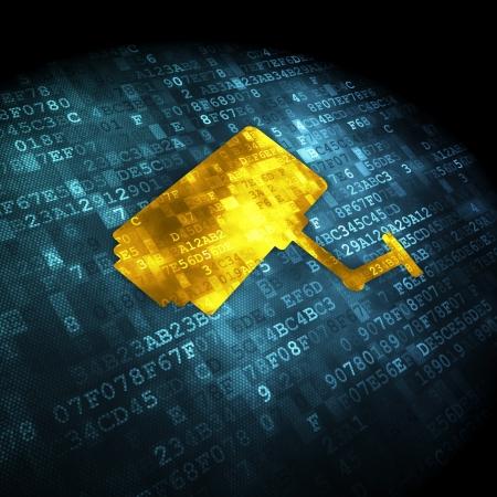 Concepto de seguridad pixelada icono C�mara Cctv en el fondo digital, 3d