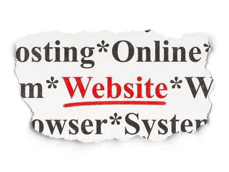 website words: Web development concept: torn newspaper with words Website on Paper background, 3d render