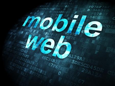 SEO web concepto de desarrollo: las palabras pixelados Web móvil en el fondo digital, 3d