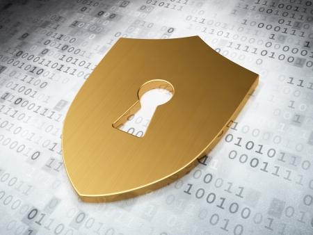Concepto de seguridad: Escudo de Oro Con ojo de la cerradura en el fondo digital, 3d