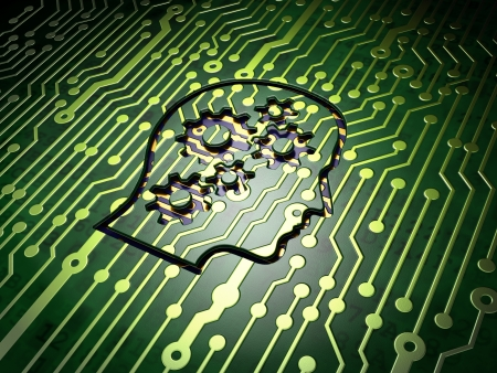Education concept: circuit board with Head With Gears icon, 3d render photo