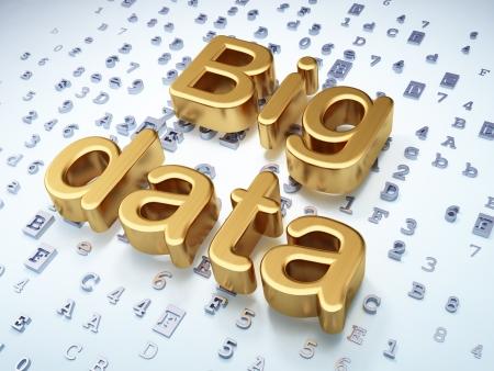 big data: Data concept: Golden Big Data on digital background, 3d render Stock Photo