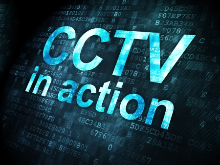 access granted: Protection concept: pixelated words CCTV In action on digital background, 3d render Stock Photo