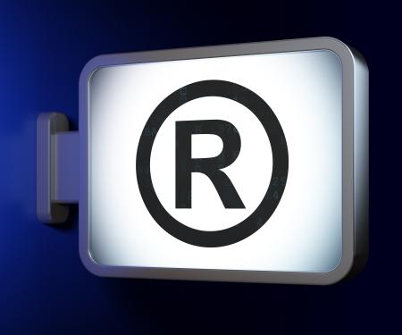 r regulation: Law concept: Registered on advertising billboard background, 3d render