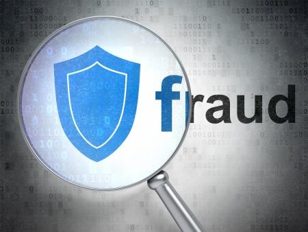 Lupa óptica con el icono del escudo y la palabra fraude en el fondo digital, 3d