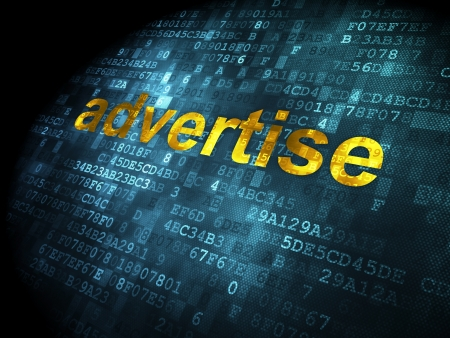 Advertising concept: pixelated words Advertise on digital background, 3d render photo