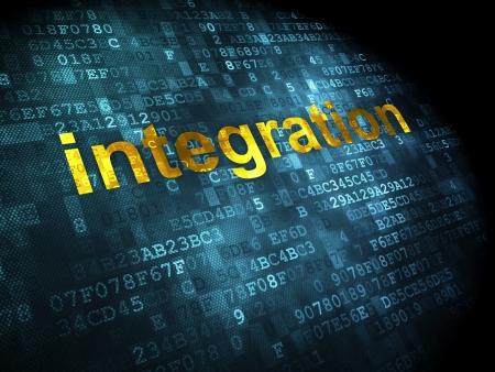 Business concept: pixelated words Integration on digital background, 3d render photo