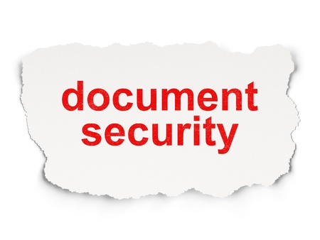 Protection concept: torn paper with words Document Security on Paper background, 3d render photo