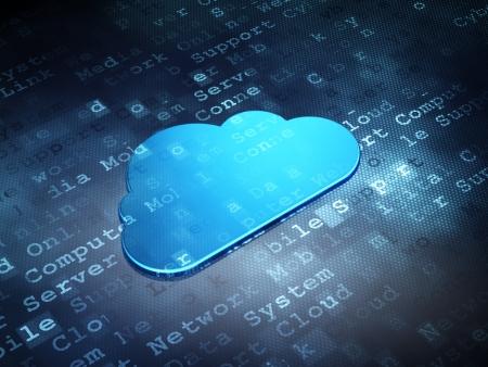 クラウド技術概念: デジタル背景、3 d のレンダリングに青、雲