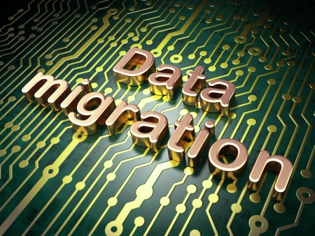 Information concept: circuit board with word Data Migration, 3d render photo