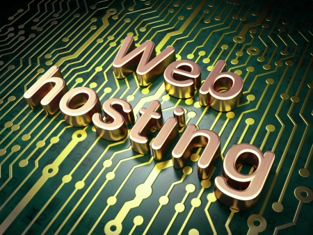 SEO web development concept: circuit board with word Web Hosting, 3d render Stock Photo - 21345083
